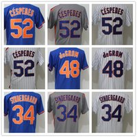 Wholesale Flashing Strip - 2018 Men's NY Mets 34 Noah Syndergaard 48 Jacob deGrom 52 Yoenis Cespedes White Strips Grey Blue Throwback Baseball Jerseys Wholesale Cheap