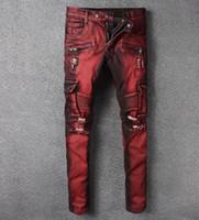Wholesale multi pocket trousers jeans - Europe America Style Men's Biker Jeans Multi Pocket Moto Pants Stretch Skinny Burgundy Cargo Denim Distressed Ripped Trousers #1043