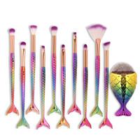 grandes ferramentas de pesca de peixe venda por atacado-11 pcs Sereia Maquiagem Brushes Set Diamante Rainbow Big Fish Tail Cosméticos Fundação Escova de Beleza Ferramentas Multipurpose Make up Brushes Kit Q160