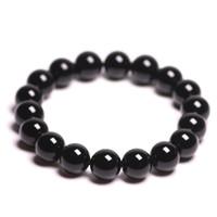 ingrosso i monili di perline del turmaline nero-Braccialetto di pietre naturali Schorl nero tormalina cristallo quarzo tondo perline donne braccialetto braccialetto energia di guarigione regalo gioielli fortunati