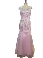 cabos de longitud de piso al por mayor-Sirena rosa clara Rhinestone Vestidos de baile Sexy palabra de longitud Cap mangas O vestido de cuello para fiesta de graduación