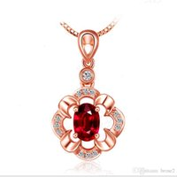 Wholesale Rose Gold Ruby - Silver necklace female Japan and South Korea silver pendants flower pendants Ruby pendants 18K rose gold and silver jewelry