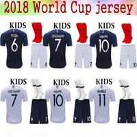Wholesale France T Shirt - New 2018 France kids kit World Cup jerseys POGBA GRIEZMANN PAYET KANTE Mbappe Football t shirts 18 19 France kids home away Soccer Jerseys