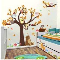 affe kinder dekor groihandel-Cartoon Wald Ast Tier Eule Affe Bear Deer Wandaufkleber Für Kinderzimmer Jungen Mädchen Kinder Schlafzimmer Wohnkultur