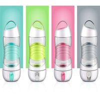 Wholesale Beauty Night Fashion - Creative sports portable water cup Multi-function USB Charge Beauty humidifier 2018 fashion Night light 4colors Water bottle 400ml CupsC3769