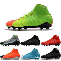 Wholesale Cream Color Boots - Drop Shipping Wholesale Football Shoes Men Hypervenom III Phantom FG Soccer Boots 9 Color Outdoor High Quality Sports Shoes Size 6.5-11