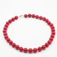 diy korallen halskette groihandel-Trendy Zubehör Schmuck Perlen 12mm Red Coral Halskette Großhandel Bälle DIY Mädchen Frauen Geschenke Weibliche Hand Made Ornamente 18 Zoll