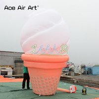 Wholesale ice cream promotion for sale - Group buy Hot sale Huge inflatable ice cream pop up iced cream with colored led lights for outdoor promotion