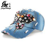 Joymay 2016 Nuevo diseño de moda Bling HatCap Mariposa colorida Denim Jean  Lady Gorra de béisbol B224 c36d1ef4947