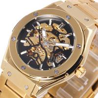 Wholesale bird mechanical - WINNER Luxry Men Auto Mechanical Watch Stainless Steel Strap Bolt Black Bird Skeleton Dial FORSINING Wristwatch New Year Gift