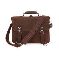 Wholesale Crazy Shoulders - Rare Crazy Horse Leather Men's Brown Business Briefcase Laptop Totes Bag Dispatch Cross-body Shoulder Messenger Huge 16 inch