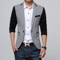 Wholesale fit suite - New Slim Fit Casual jacket Cotton Men Blazer Jacket Single Button Gray Mens Suit Jacket 2018 Autumn Patchwork Coat Male Suite
