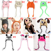 Wholesale children knitting hat style for sale - Group buy 29 styles handmade Beanies Children s cartoon owl baby hat Double braided Ear protection Children s Caps kid Knitted cap Warm Hats