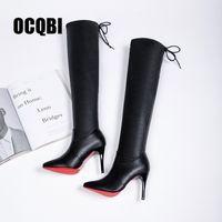 winterschuhe hohe knie großhandel-2019 Frauen Schuhe Stiefel High Heels Rote Unterseite Über dem Knie Stiefel Leder Mode Fenty Beauty Damen Lange Größe 35-39