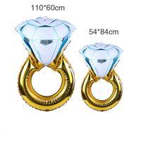 için kullanılan düğün süslemeleri toptan satış-Elmas Yüzük Alüminyum Folyo Balon Kullanımı Kolay Güvenli Toksik Olmayan Renk Hava Balon Düğün Süslemeleri Için 5tq3 BW