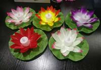 lanternas flutuantes da água da flor venda por atacado-Flor De Lótus Artificial LEVOU Velas Luz Colorida Mudou Flutuante Água Flor Piscina Desejando Lâmpadas de Luz Lanternas Abastecimento de Festa
