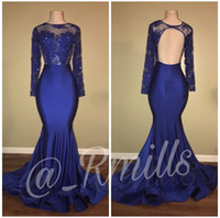 Wholesale Royal Blue Silk Petals - 2018 Sexy Royal Blue Evening Gowns Sheer Neck Formal Prom Occasion Dresses Mermaid Long Sleeve Peplum Party Celebrity