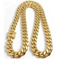 Wholesale 24k gold pendants for men resale online - Stainless Steel Jewelry K k Gold Filled Plated High Polished Cuban Link Necklace For Men Punk Curb Chain Dragon Beard Clasp10mm MM