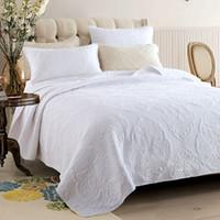 weiße kingsize-decke großhandel-Bestickte Tagesdecke Quilt Set 3pcs Bettdecken Baumwolle Quilts Einfache feste Bettwäsche gesteppte Bettdecken King Size Decke weiß