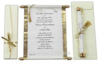 invitaciones blancas de lujo al por mayor-Invitaciones de Boda de voluta de 2016 tarjetas de boda al por mayor del partido Invitaciones reales de lujo de seda de oro blanco de la boda con la caja