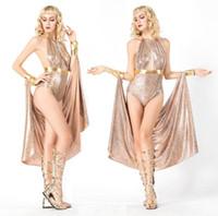 kleopatra cadılar bayramı kostümleri toptan satış-Yüksek Kaliteli Kleopatra Kostümleri Seksi Kraliçe Giyim Yunan Tanrıçası Cosplay Parti Elbise Kadınlar Için Athena Kostüm Cadılar Bayramı