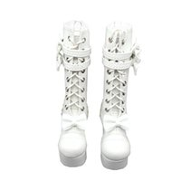 Wholesale Lolita Boots - Tilda 1 4 Doll Boots Lolita Style High Heel BJD Doll Shoes,White Lace Up Toy Boot For BJD Dolls,High Quality Accessories