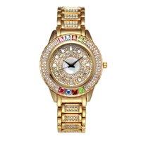 женские часы оптовых-Новый Горячий Австрия Кристалл Часы Женщины Полный Алмаз Лучший Женские Часы Марка Мода Золотые Часы Бизнес Кварцевые Часы
