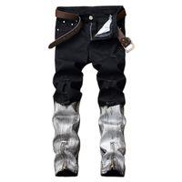mens club jeans venda por atacado-Estilo punk preto e branco casual mens hip hop motociclista jeans night club slim fit impresso com zíperes calças dos homens corredores atacado