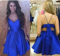 Wholesale unique mini dresses - 2018 Royal Blue Charming Homecoming Party Dresses V neck Unique Back Design Satin A line Bows Short Prom Graduation Evening Dress Gowns New