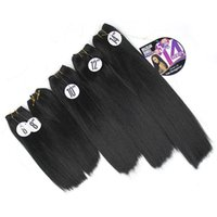 Wholesale synthetic afro kinky weave for sale - Yaki Straight Hair Weave Bundles Kinky Straight inch Black Synthetic Sew In Hair Extensions Afro Double Weft for black women one head