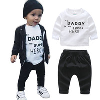 Wholesale Milk Babies - Ins Baby Boy clothes Outfits Cool 2018 Spring Letters Hero Milk Geometric Long sleeve T-shirt Tops +Pants 2pcs Set
