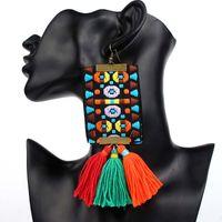 Wholesale fashion jewelry earrings online - Drop Earrings for Women Jewelry new Fashion Vintage punk big weave personality Boho Long tassels Earrings colorful style