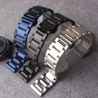 часы оптовых-Ремешки ремни браслеты черный синий серебро из нержавеющей стали полированные часы аксессуары подходят Galaxy часы 20 мм 22 мм продвижение