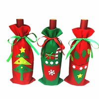 Wholesale cute snowman plush - Fun Christmas Wine Bottle Cover Bag Navidad Banquet Christmas Dinner Party Xmas Plush Cute Snowmen Table Decor New Years Gift