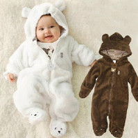 bebek ayı romper toptan satış-Sonbahar Kış Bebek Rompers Ayı tarzı bebek mercan polar Hoodies Tulum bebek kız erkek romper yenidoğan toddle giyim