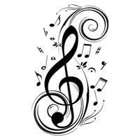 notas musicales pegatinas al por mayor-Beat Note pegatinas de pared de arte de la música, vinilo pegatinas de pared decoración de la música, arte gráfico musical decoración del hogar-negro
