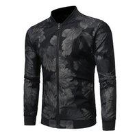 ingrosso vestiti da jogging-Calda giacca da uomo stampata floreale giacca da corsa jogging abbigliamento sportivo allenamento fitness palestra vestiti manica lunga