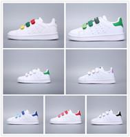 grüne babyschuhe großhandel-Adidas Stan Smith Marke Kinder Superstar Schuhe Original Weiß Grün Baby Kinder Superstars Turnschuhe Originals Super Star Mädchen Jungen Sport Freizeitschuhe 24-35