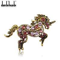 верховая брошь горный хрусталь оптовых-Vintage Colored Rhinestone Unicorn Horse Animal Brooches for Women Men Wedding Hijab Scarf Pins and Badges Brooch Jewelry