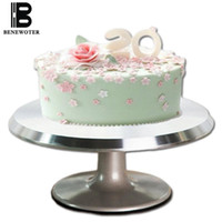 Wholesale aluminum base plates resale online - 12 Inch Aluminum Alloy Baking Tools Cake Decorating Base Turntable Platform Round Rotating Revolving Cakes Stand Swivel Plate