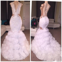Wholesale Long White Tulle Skirt - 2018 African White Mermaid Lace Prom Dresses Plunging V Neck Puffy Skirt Sexy CrissCross Backless Ruffled Long Train Party Evening Gowns
