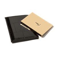 espejo de bolsillo de cuero al por mayor-Metal Portable Shatter Proof Card Style Bolsillo Espejo Cosmético PU Leather Cover Acero Inoxidable Espejo de Maquillaje Irrompible