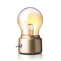 Wholesale table bedside lamp nightlight - Vintage LED Table Lamp Nightlight Lampe de chevet de Chambre Lampada da tavolo Rechargeable Bedside Novelty Bulb Table Lamp