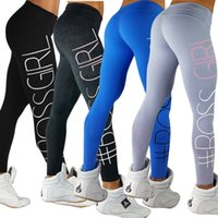 Wholesale ladies yoga pants wholesale online - Women Boss Girl Letter Printing Slim Yoga Pants Sports Legging Fitness Tight Legging Ladies Jogging Gym Running Legging LJJO4530