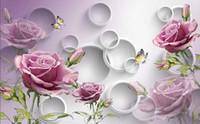 el boya pembe çiçekler toptan satış-Özel Fotoğraf Kağıdı 3D Stereo Orijinal pembe gül el-boyalı çiçekler basit moda arka plan duvar Uzatma Kişilik Duvar resmi Wa