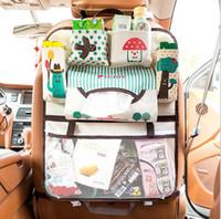 araba koltuğu düzenli toptan satış-Karikatür Araba Koltuğu Geri Depolama Çanta Asmak Organizatör Organizatör-styling Bebek Ürün Toplama Bebek Bakımı İç arka Koltuk Koruyucu