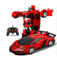 Wholesale Remote Control Toy Cars - 2In1 Car Transformation Robots Models Remote Control toy Kids Children's