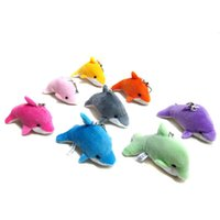 Wholesale plush toys dolphin - 2018 Lovely Mixed Color Mini Cute Dolphin Charms Kids Plush Toys Home Party Pendant Gift Decorations Free Shipping OTH583