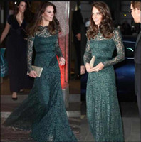 Wholesale special occasion dresses plus sizes for sale - Formal Elegant Evening Dresses Dark Green Lace Long Sleeves Special Occasion Dresses KATE MIDDLETON Same Style Red Carpet Prom Dresses