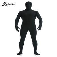 traje ajustado de los hombres al por mayor-Gesikai Spandex Zentai Lycra para hombre, traje completo, Zentai, traje personalizado, segundo traje de piel, traje de Halloween